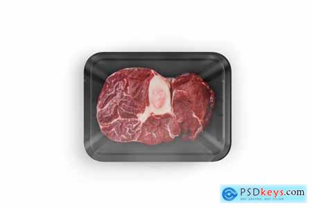 Plastic Tray With Marbled Beef Mockup 5242209