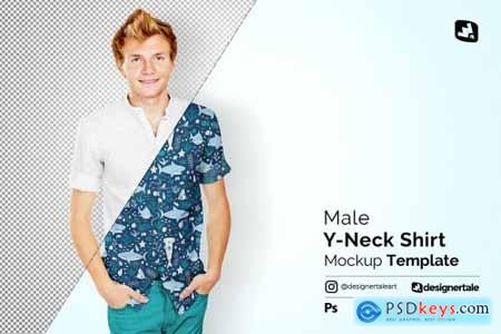 Male Y-neck Shirt Mockup 4699915