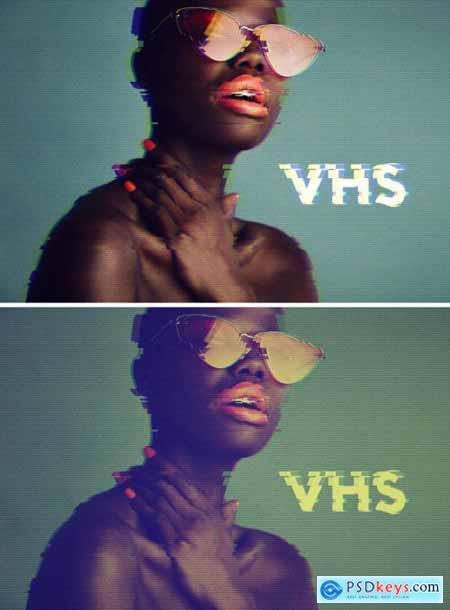 Retro VHS Glitch Photo Effect Mockup 369277545