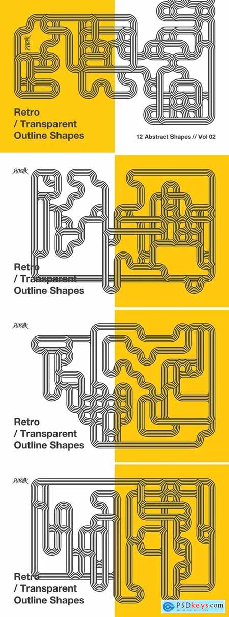 Retro - Transparent Outline Shapes - Vol. 02