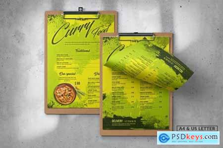 Curry Food Menu Design A4 & US Letter