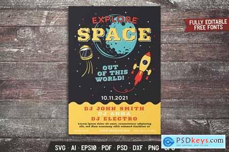 Explore Space Retro Flyer