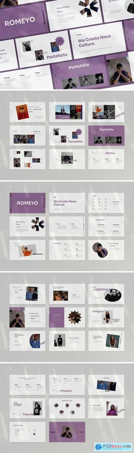 Romeyo Powerpoint, Keynote, Googleslide Template