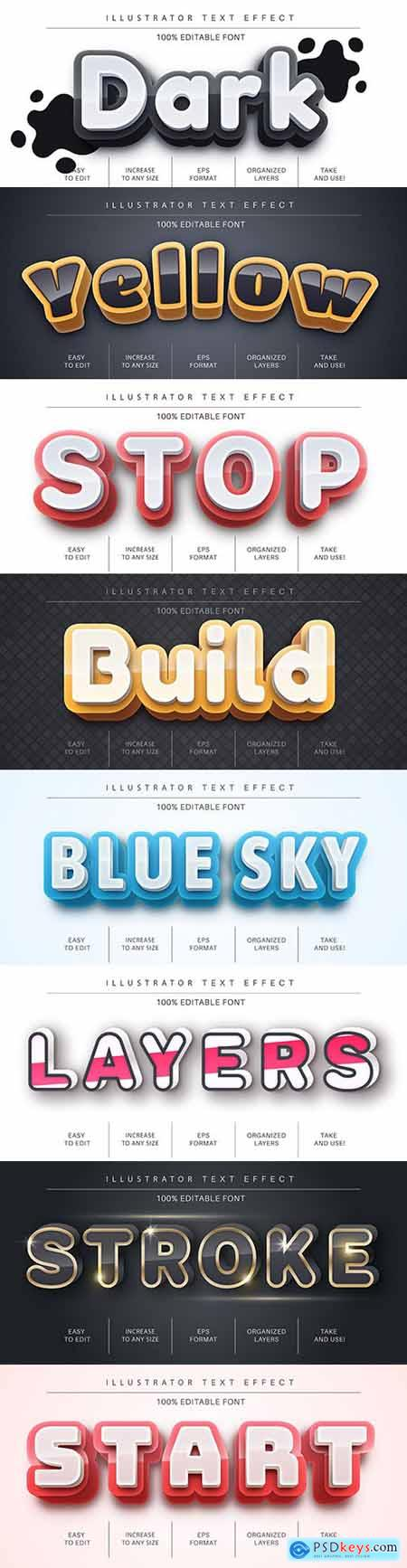 Editable font effect text collection illustration design 162
