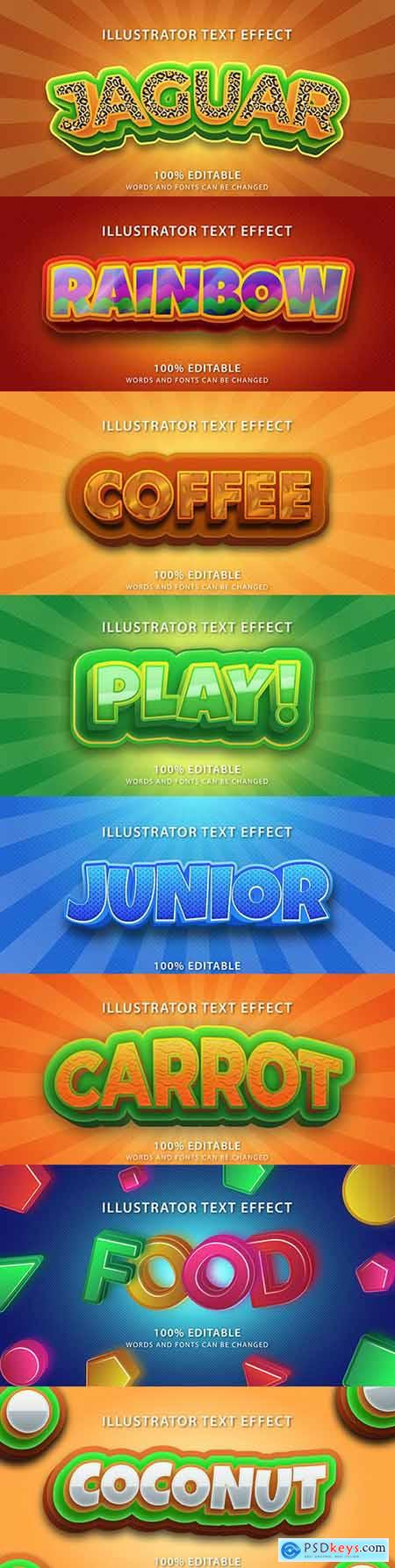 Editable font effect text collection illustration design 160