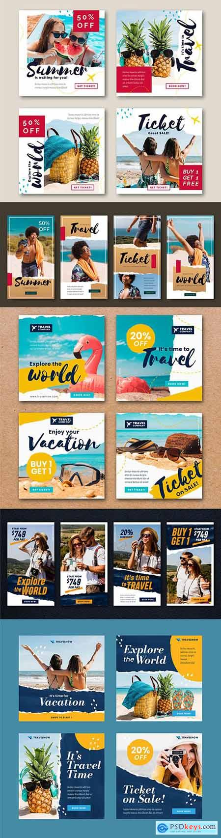 Travel story and travel sale instagram post template