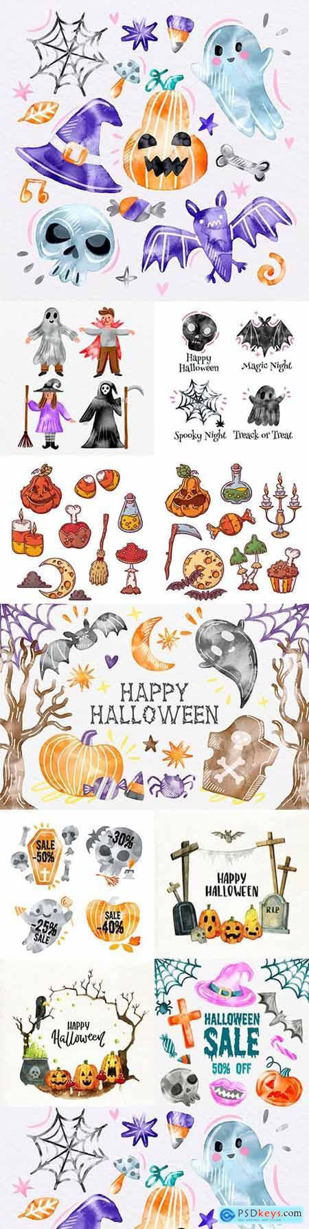 Halloween cute cartoon character watercolor illustration