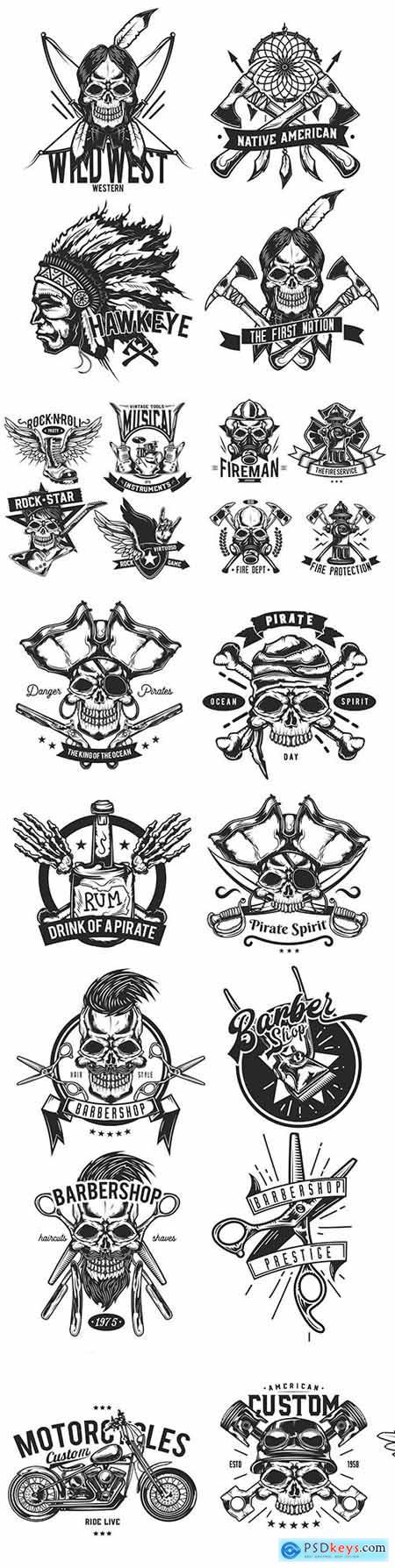 Grunge emblem and label typography vintage design