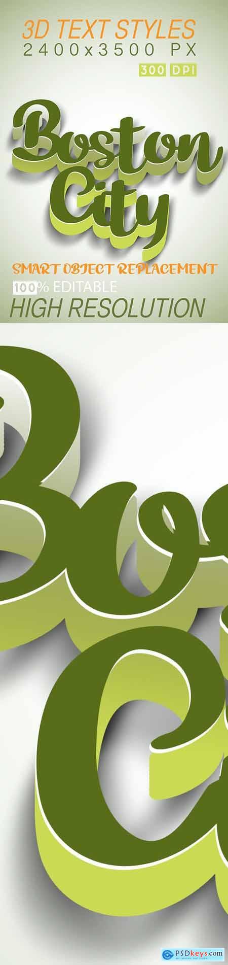 3D Text Styles Boston 26703076