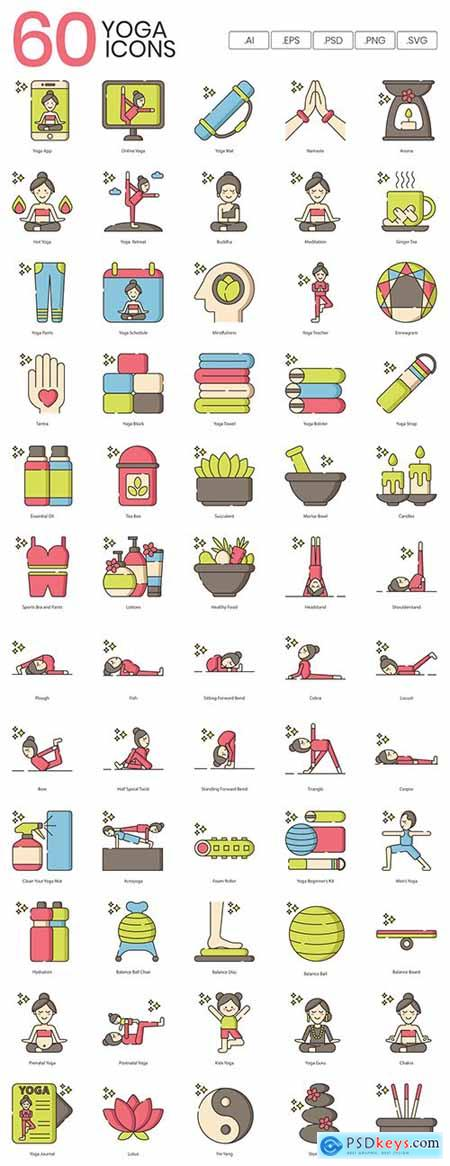 60 Cute Yoga Icons