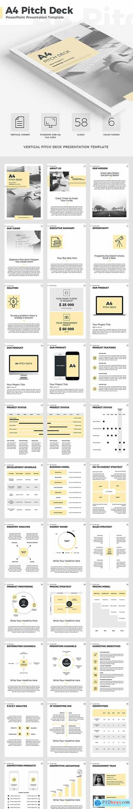 A4 Pitch Deck Vertical PowerPoint Template 20608554