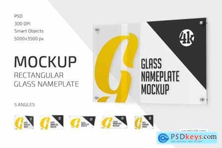 Rectangular Glass Nameplate Mockup Set 5269985