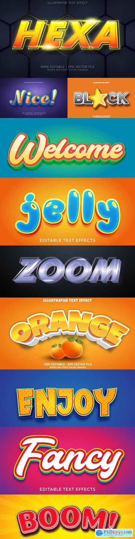 Editable font effect text collection illustration design 157