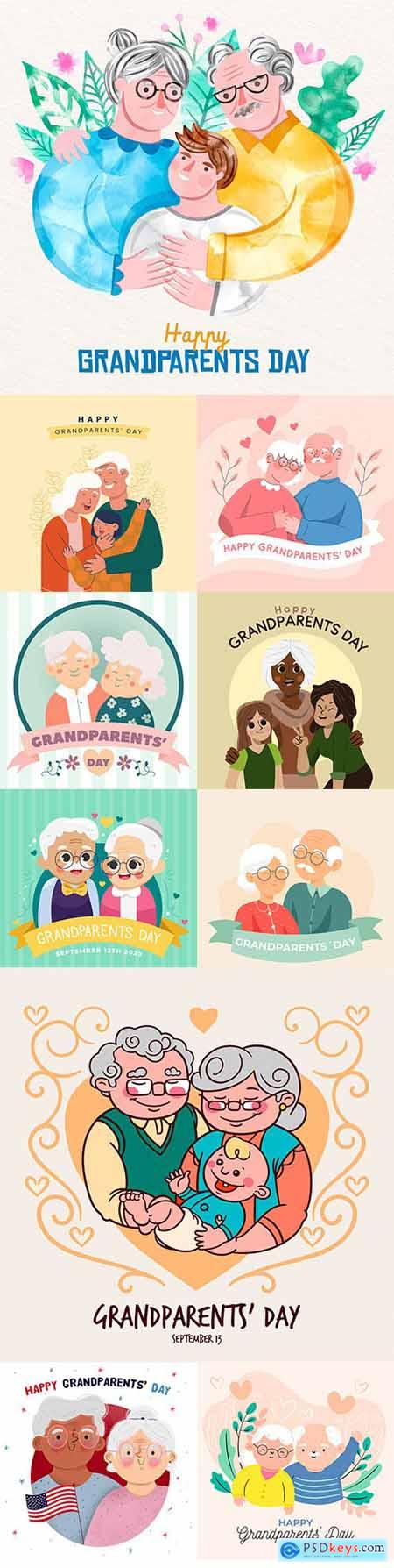 National grandparents day flat design illustration