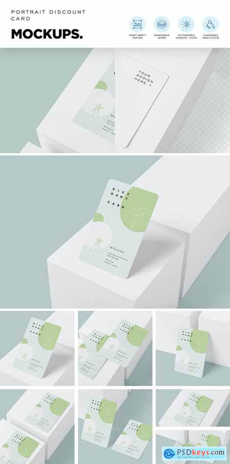 Portrait Discount Card Mockups