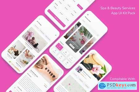 Spa & Beauty Services App UI Kit Pack