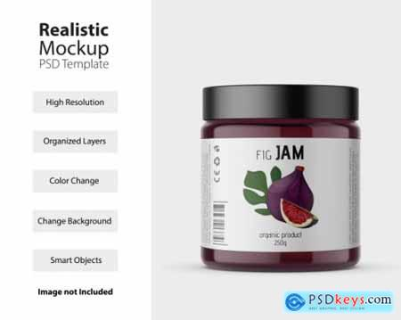 Plastic jar with label mockup