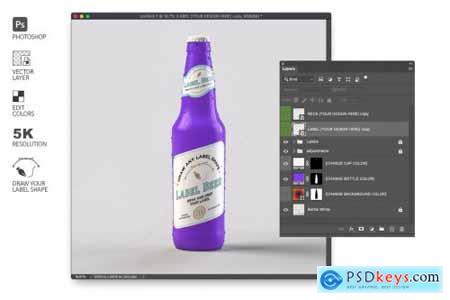 Colorful Beer Bottle Mockup 4579520