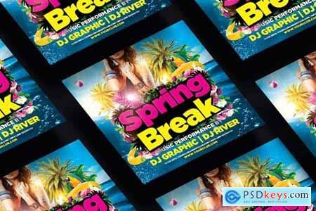 Spring Break Party Square Flyer & Instagram Post