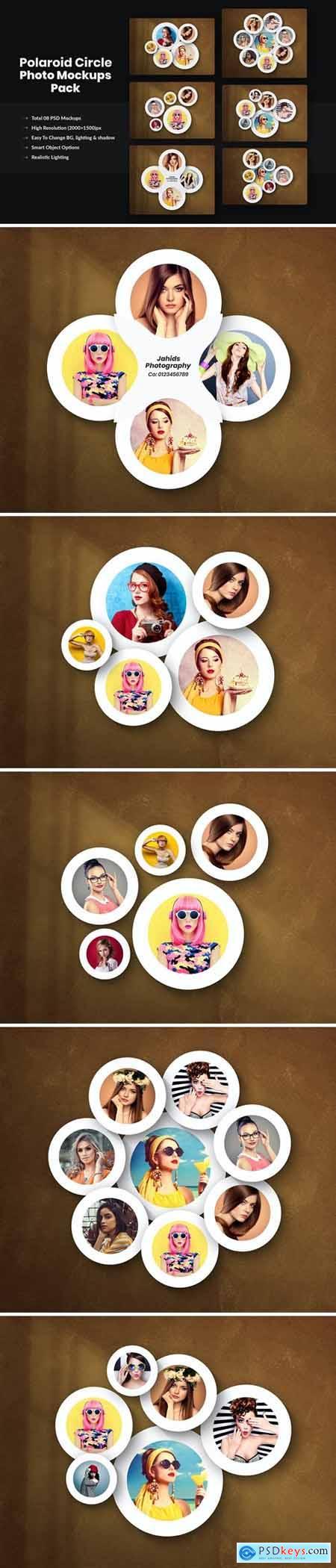 Polaroid Circle Photo Mockups Pack