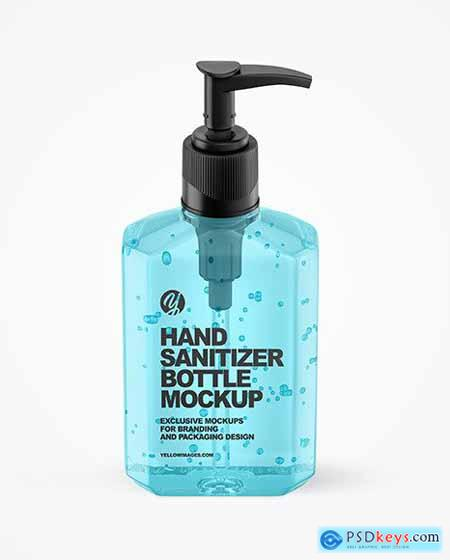 Sanitizing Gel Bottle with Dispenser Mockup 65403