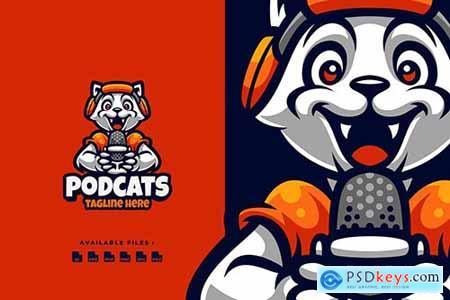 Podcast cats Cartoon Logo
