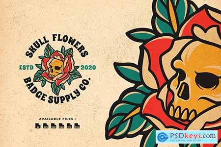 Skull Flowers Badge Logo
