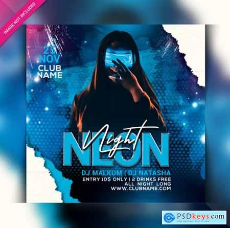 Neon night party flyer template147