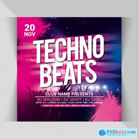 Techno beats party square flyer template