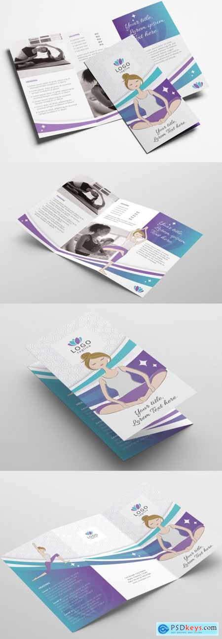 Yoga Studio Dl Card Flyer and Trifold Brochure with Purple Gradient