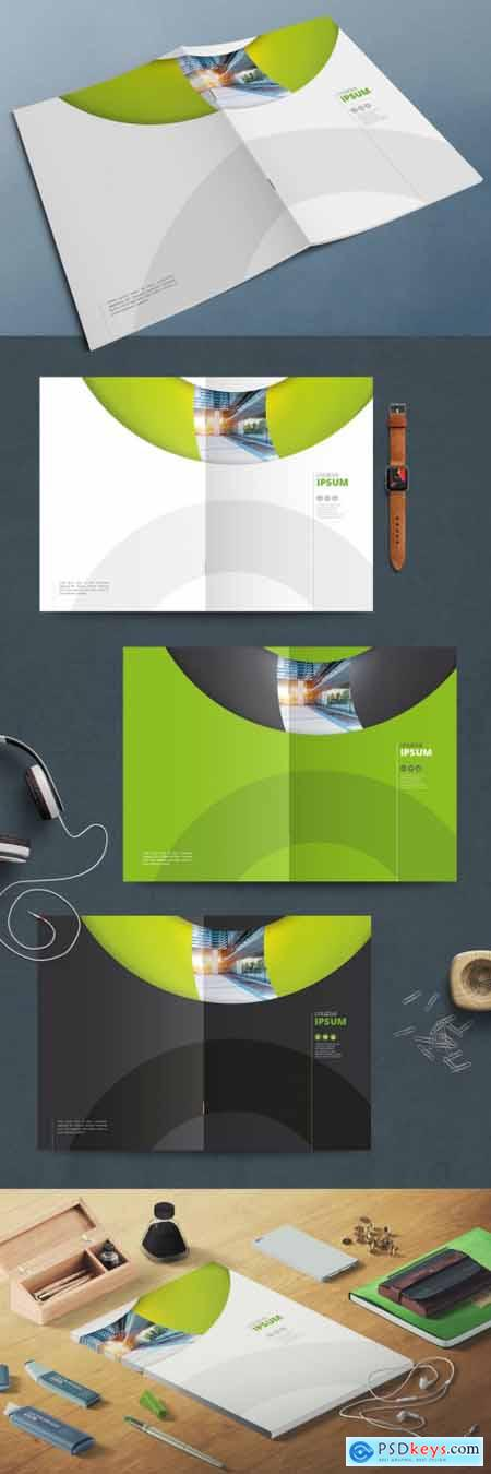 Business Report Cover Layouts with Green Modern Circles 370641754