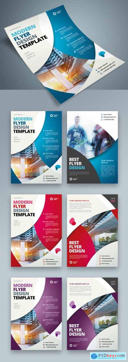 Colorful Business Flyer Layout with Circle Elements 370642340