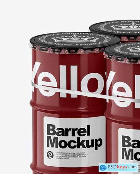 4 Barrels & Wooden Pallet Mockup 65691