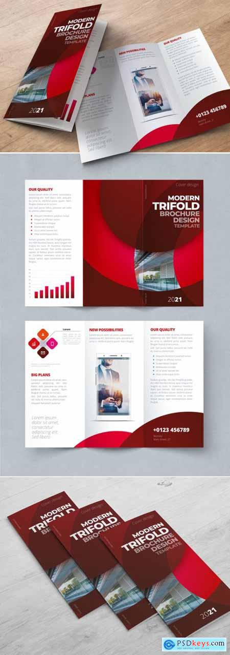 Dark Red Trifold Brochure Layout with Circles 370641909