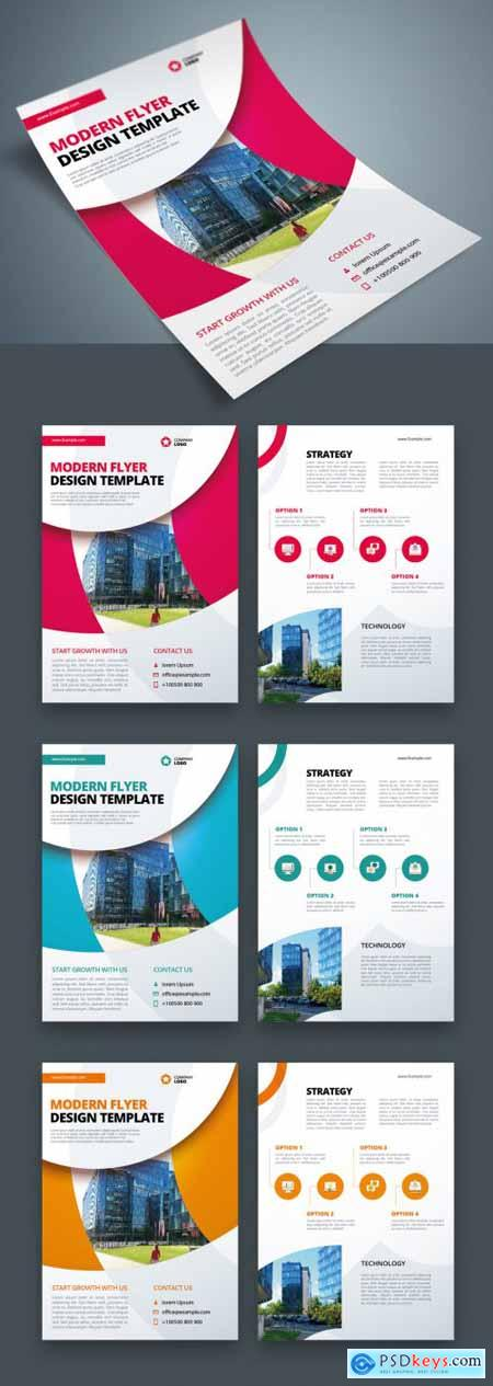 Business Flyer Layout with Circle Elements 370641493