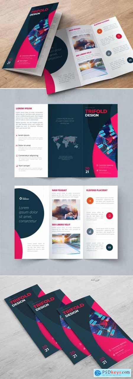 Dark Trifold Brochure Layout with Pink Circles 370641899