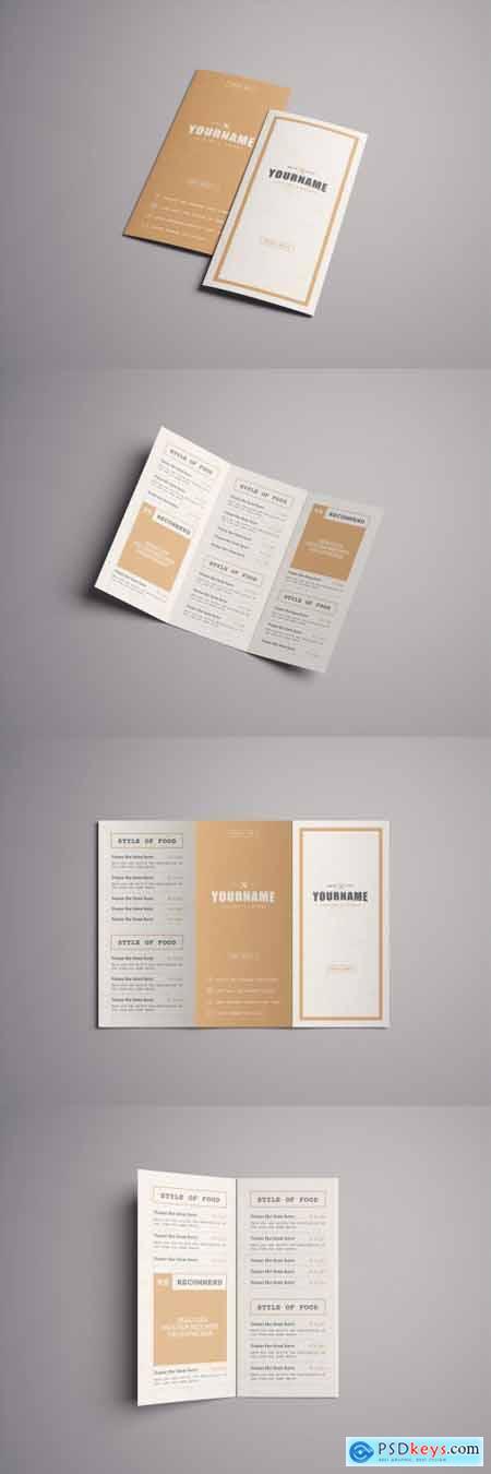 Rustic Menu Trifold Brochure Layout 371298789