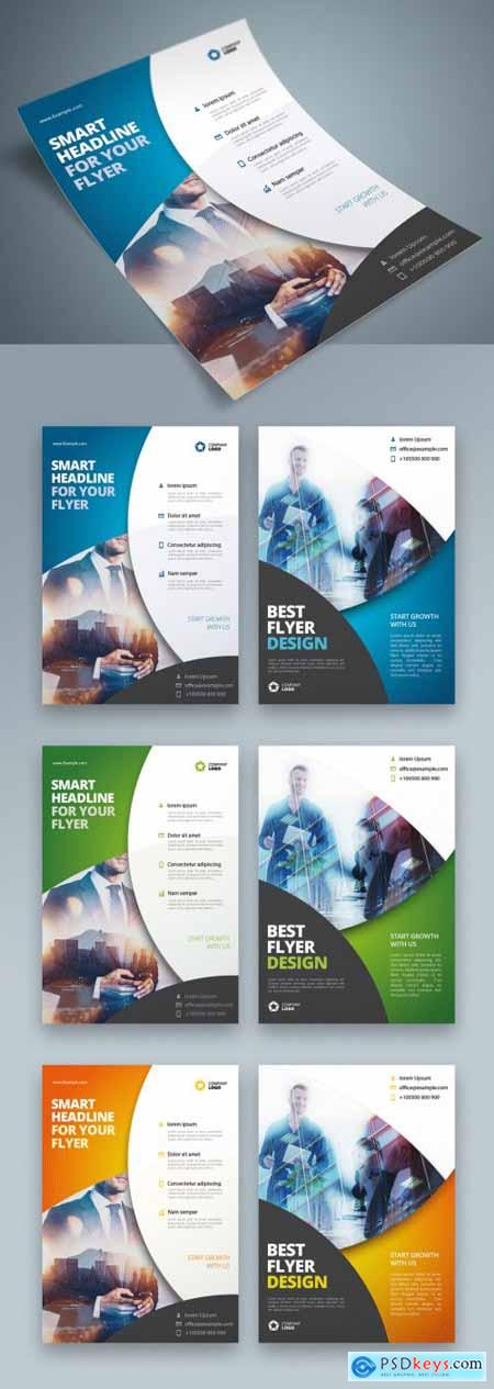 Business Flyer Layout with Blue Circle Elements 370641148