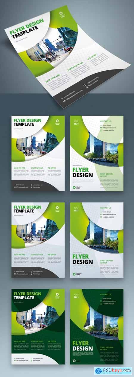 Business Flyer Layout with Green Circle Elements 370641474