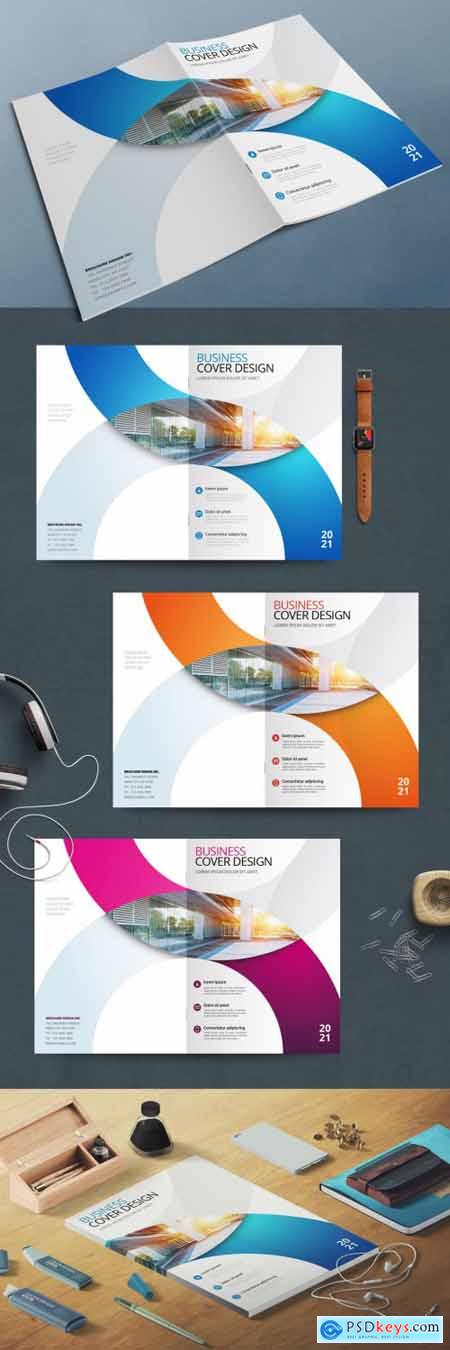 Business Report Cover Layout with Circles 370641751