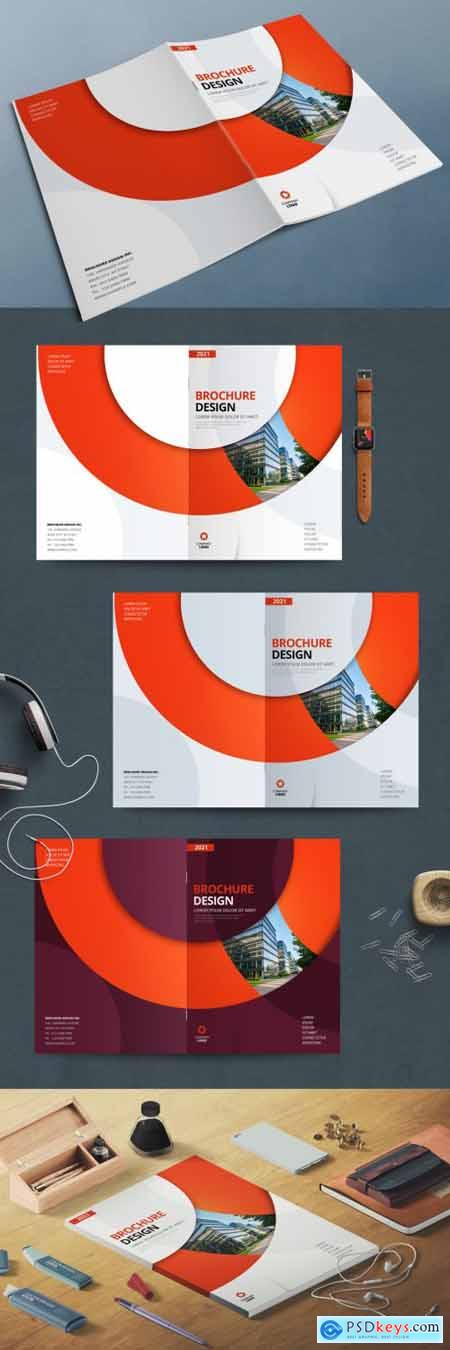 Business Report Cover Layout with Orange Circle 370641768