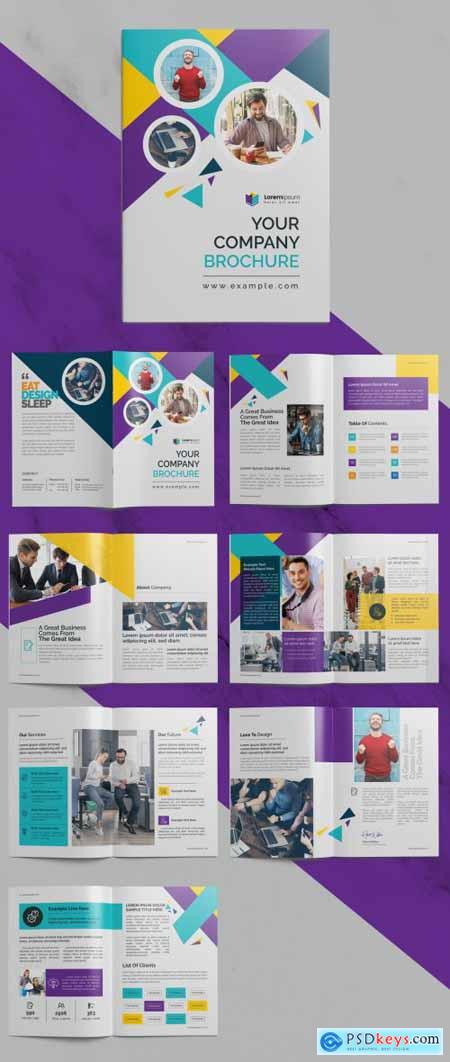 Corporate Brochure with Multicolored Accents 372723571
