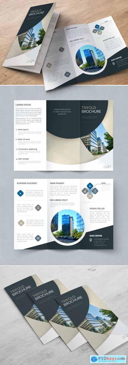 Trifold Brochure Layout with Dark and Biege Circles 370641900