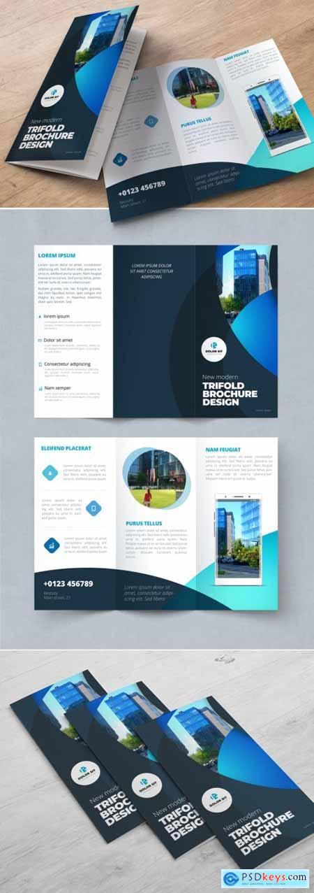 Dark Blue Trifold Brochure Layout with Circles 370642313