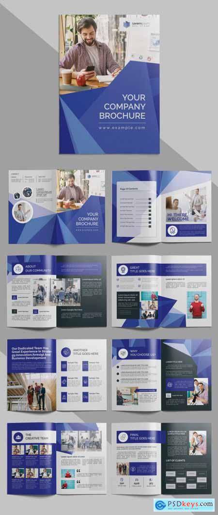 Multipurpose Abstract Corporate Brochure with Blue Accents 372724056