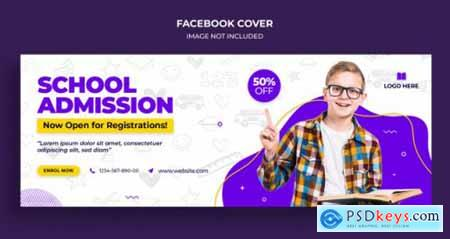 Back to school facebook timeline cover and web banner template