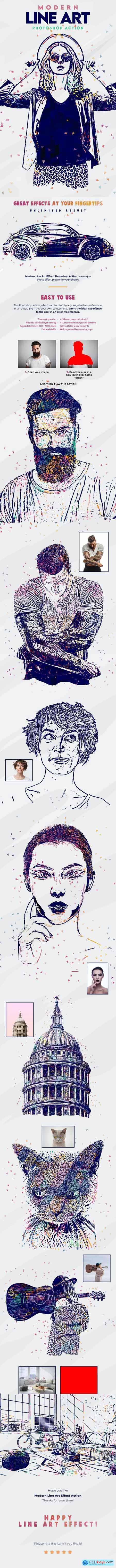 Modern Line Art Effect Photoshop Action 26986358