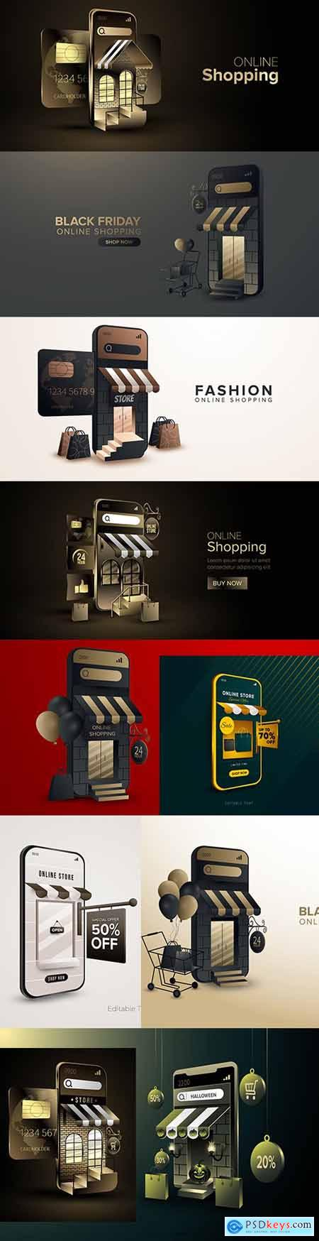 Online stores with concept of digital marketing on mobile phone