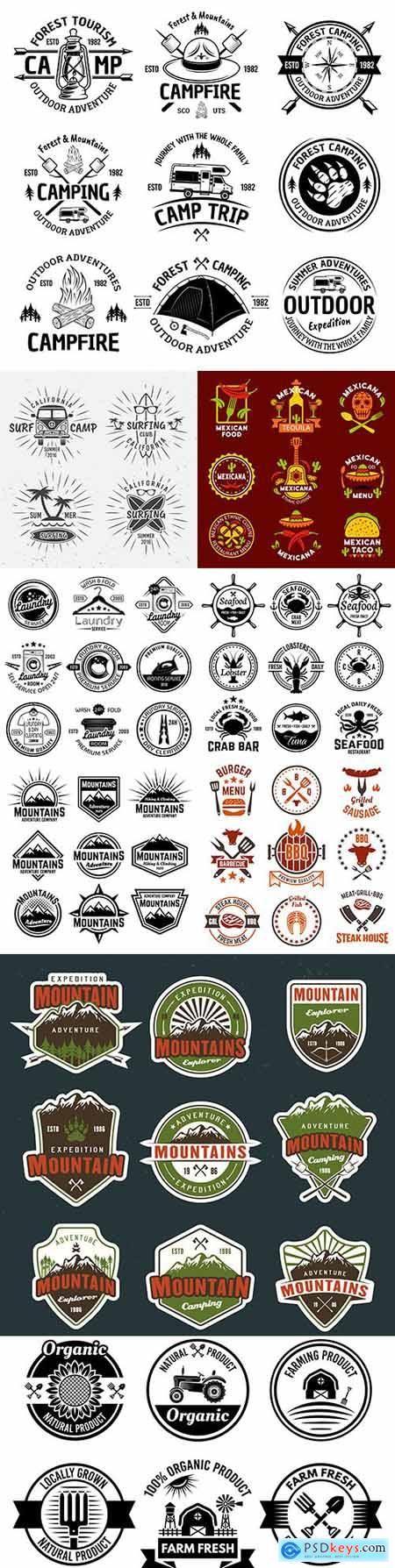 Vintage antique emblems and logos with text design 13
