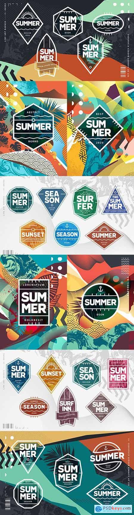 Summer grunge geometric tropical poster design modern